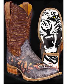 Tin Haul White Tiger Cowboy Boots - Square Toe