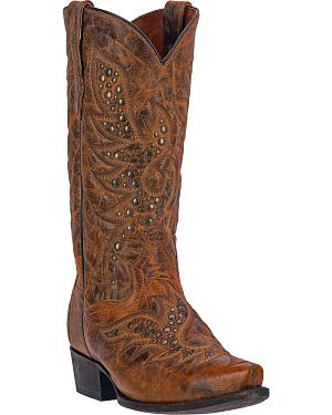 Dan Post Flat Head Studded Cowboy Boots - Snip Toe