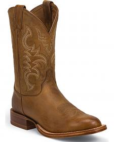 Justin Golden Brown Stampede Punchy Cowboy Boots - Square Toe