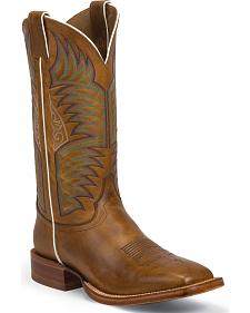 Justin Sierra Tan Stampede Punchy Cowboy Boots - Square Toe