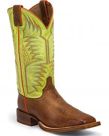 Justin Cognac Delta Stampede Punchy Cowboy Boots - Square Toe
