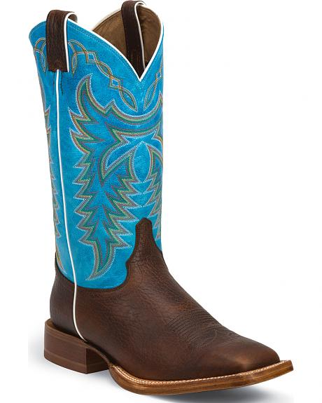 Justin Whiskey Brown Grit Stampede CPX Cowboy Boots - Square Toe