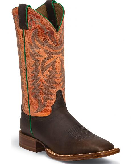 Justin Grizzly Chocolate Stampede CPX Cowboy Boots - Square Toe