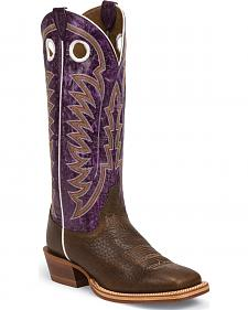 Justin Men's Ranch Collection Brown Grit Cowboy Boots - Square Toe
