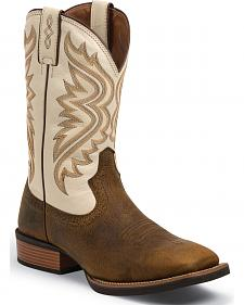 Justin Men's Whiskey Brown Silver Collection Cowboy Boots- Square Toe