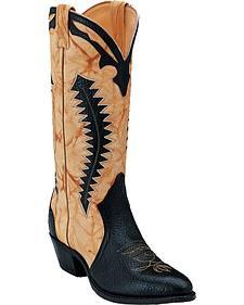 Boulet Black and Butterscotch Shoulder Boots - Medium Toe