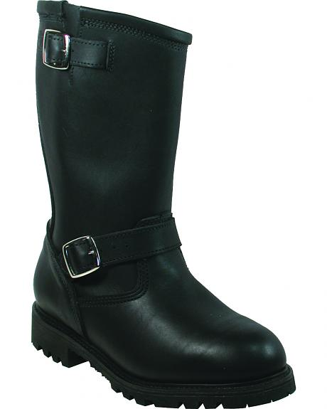 Boulet Everest Black Buckle Motorcycle Boots - Round Toe