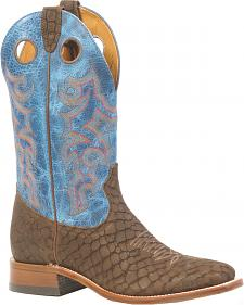 Boulet Puzzle Brown Electric Blue Boots - Square Toe