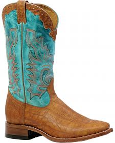 Boulet African Elephant Print Turquoise Cowboy Boots - Square Toe