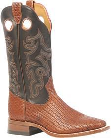 Boulet Canestro Cognac Torino Calf Black Cowboy Boots - Square Toe