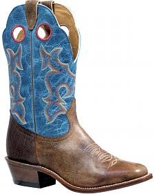 Boulet Damasko Taupe Roughstock Cowboy Boots - Square Toe