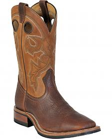 Boulet Shoulder Old Town Organza Brown Cowboy Boots - Square Toe