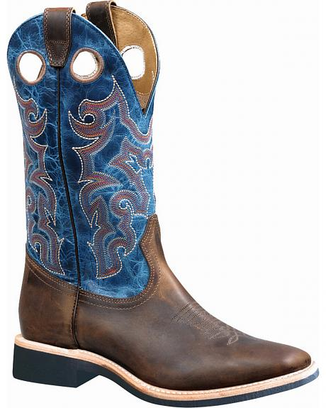 Boulet Hillbilly Golden Lava Electric Blue Extralight Sole Boots - Square Toe