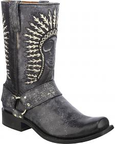 Corral Shaded Skull Harness Cowboy Boots - Square Toe