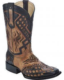 Corral Overlay Cowboy Boots - Square Toe