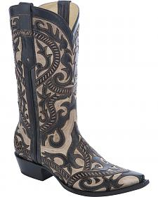 Corral Overlay Cowboy Boots - Snip Toe