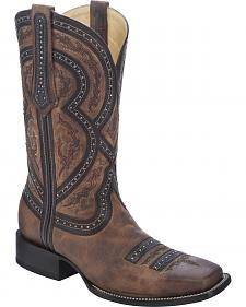 Corral Studded Overlay Cowboy Boots - Square Toe