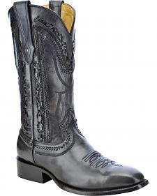 Corral Laser Cut Whip-Stitch Cowboy Boots - Square Toe