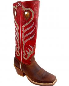 "Twisted X Red 17"" Buckaroo Cowboy Boots - Square Toe"