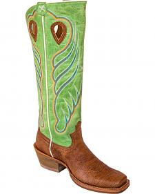 "Twisted X 17"" Bull Hide Lime Buckaroo Cowboy Boots - Square Toe"