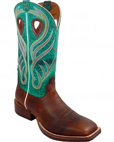 Twisted X Saddle Brown and Green Ruff Stock Cowboy Boots - Square Toe
