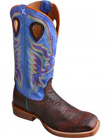 Twisted X Ruff Stock Royal Blue Cowboy Boots - Square Toe
