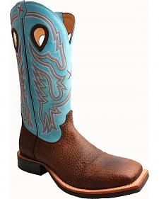Twisted X Light Blue Ruff Stock Cowboy Boots - Square Toe