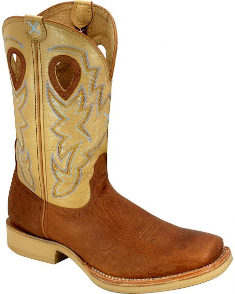 Twisted X Tan and Brown Horseman Cowboy Boots - Square Toe