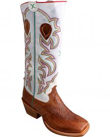 "Twisted X Bright White 17"" Buckaroo Cowboy Boots - Square Toe"