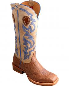 "Twisted X 16"" Cream Buckaroo Cowboy Boots - Square Toe"