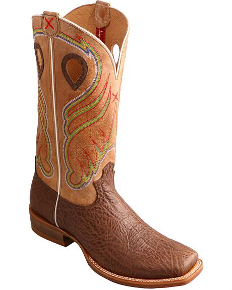 Twisted X Men's Crazy Horse Ruff Stock Cowboy Boots - Square Toe