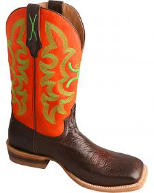 Twisted X Men's Neon Orange Hooey Cowboy Boots - Square Toe