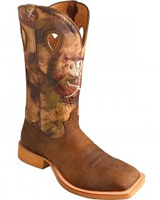 Twisted X Brown Camo Ruff Stock Cowboy Boots - Square Toe