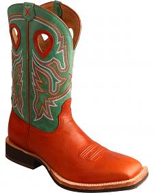 Twisted X Neon Green Horseman Cowboy Boots - Square Toe