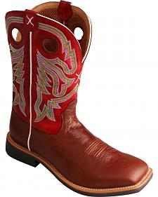 Twisted X Men's Burgundy Top Hand Cowboy Boots - Square Toe