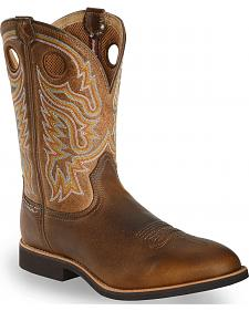 Twisted X Tan Joe Beaver Calf Roper Cowboy Boots - Round Toe