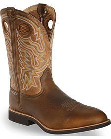 Twisted X Tan Joe Beaver Calf Roper Cowboy Boots - Round Toe