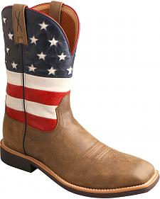 Twisted X American Flag VFW Top Hand Cowboy Boots - Square Toe
