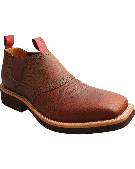 Twisted X Men's Cow Dog Brown Leather Shoes - Square Toe