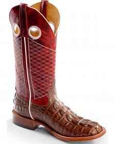 Anderson Bean Horse Power Caiman Tail Print Western Boots - Square Toe
