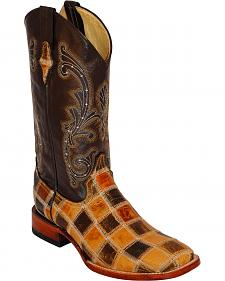 Ferrini Patchwork Leather Cowboy Boots - Square Toe