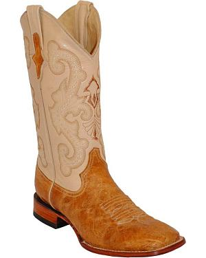 Ferrini Antique Saddle Cowhide Western Boots - Square Toe