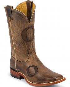 Nocona University of Oregon Cowhide Cowboy Boots - Square Toe