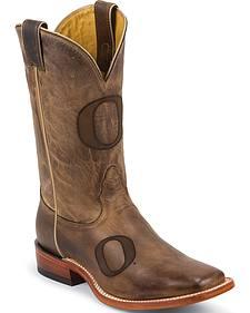 Nocona University of Oregon Cowhide Cowboy Boots - Square Toe