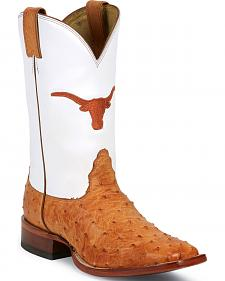 Nocona University of Texas Full Quill Ostrich Cowboy Boots - Square Toe