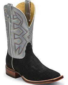 Nocona Black Hippo Print Let's Rodeo Cowboy Boots - Square Toe
