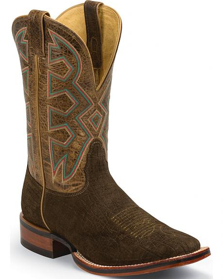 Nocona Brown Hippo Print Let's Rodeo Cowboy Boots - Square Toe