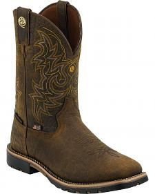 Justin Dark Brown George Strait Waterproof Cowboy Boots - Square Toe