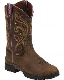 Justin Brown and Purple George Strait Waterproof Cowgirl Boots - Round Toe