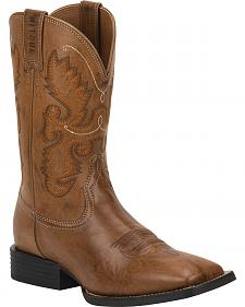 Justin Burnished Brown Farm & Ranch Cowboy Boots - Square Toe